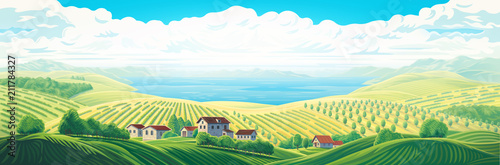 Poster Blanc Rural panoramic landscape with a village and hills with gardens and fruit trees. Raster illustration.