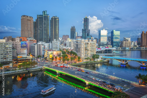 Poster Texas KAOHSIUNG, TAIWAN - MAY 04 2018: View of downtown Kaohsiung financial district on May 04, 2017 in Kaohsiung