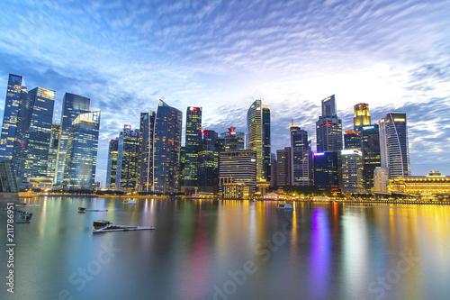 Poster Stad gebouw Singapore skyscraper with modern building around Marina bay