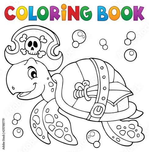In de dag Voor kinderen Coloring book pirate turtle theme 1