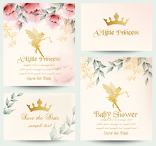 Happy Birthday Little Princess Cards Set Vector. Delicate Floral Bouquets