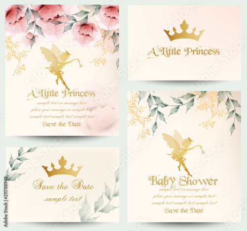 Happy birthday little princess cards set Vector Fototapet
