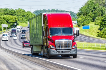 Red Semi Truck on Interstate Highway