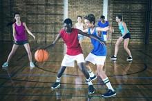 High School Kids Playing Baske...