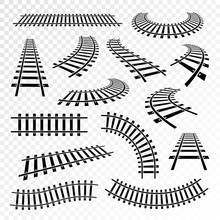 Straight And Curved Rails Icon...