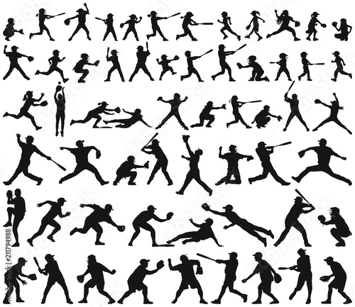 Vector silhouette collection of child man woman young and elderly playing baseba Wallpaper Mural