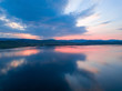 Beautiful panoramic view of the Lake on the sunset and hills on the background