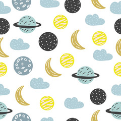 Tapeta Seamless pattern. Cute animals and plants. Scandinavian style. Prints for clothes and postcards, for children. For your design.