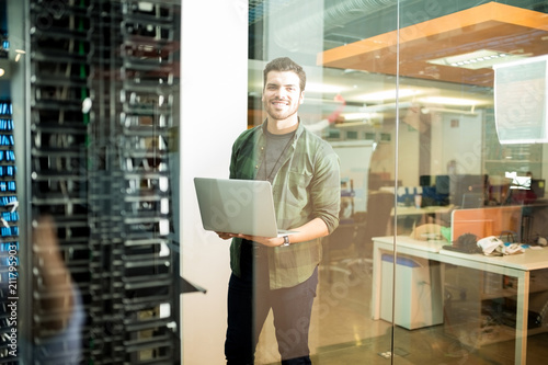 Network technician in data center