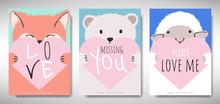 Set Of Valentines Day Card Tem...