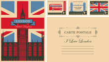 Retro Postcard With British Flag And Big Ben In London And With UK Postmarks. Vector Set Of Postage Stamps And Postcard In Vintage Style With Words I Love London And Place For Text