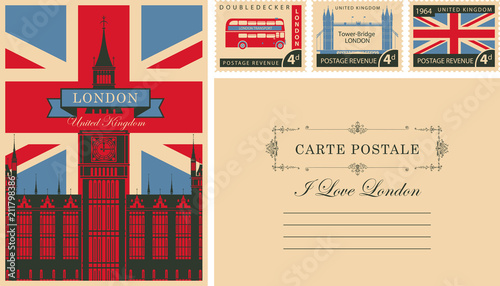 Obraz Retro postcard with british flag and Big Ben in London and with UK postmarks. Vector set of postage stamps and postcard in vintage style with words I love London and place for text - fototapety do salonu