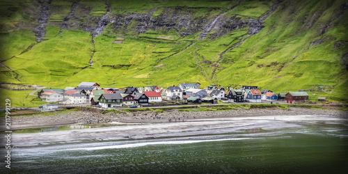 Staande foto Europa Tjornuvik village, faroe island
