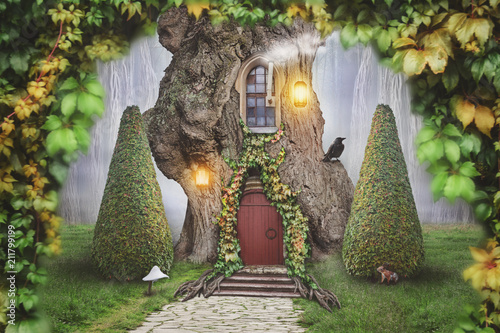 Fairy tree house in fantasy forest