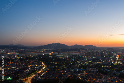 Plakat zachód słońca w Namsan Seul