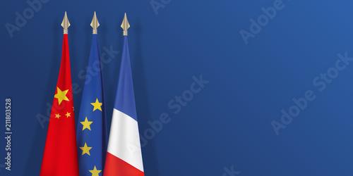 Fototapeta drapeau - France - Chine - Europe - chinois - français - européen - présentation - fond - économie obraz