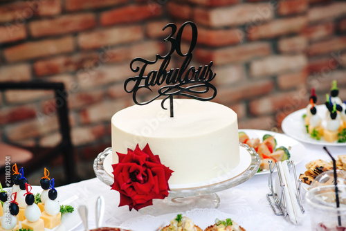 Birthday Cake With Red Rose Fabulous 30 Special Cake 30 Years Old