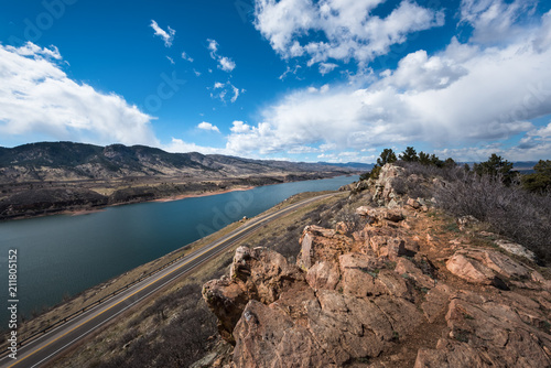 View of Horsetooth Reservoir in Fort Collins, Colorado from the east ridge