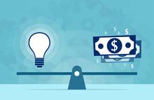 Light Bulb Idea And Money On S...