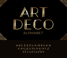 Elegant Golden Font And Alphab...