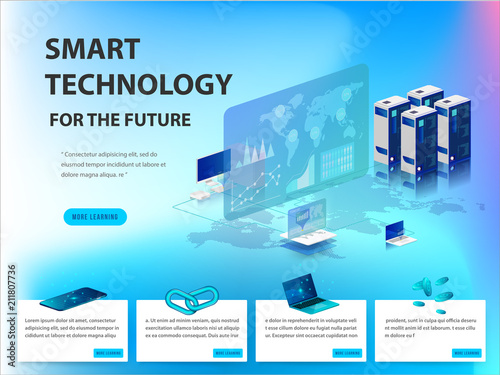 Fotografia  Concept of big data processing, energy station of future, data center, Cryptocurrency and blockchain isometric composition Smart object and smart technology design