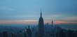 Nice blue sky day of new york city Manhattan skyline