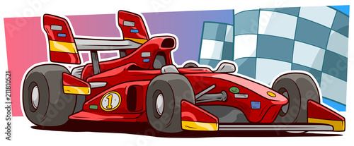 Staande foto Cartoon cars Cartoon modern red sport racing car