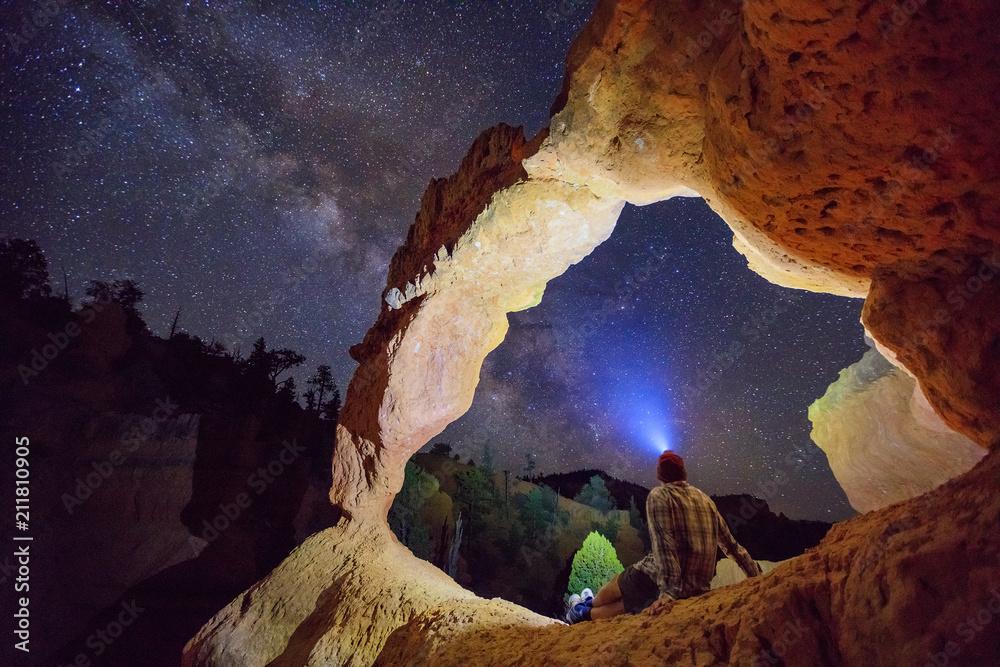 Fototapeta Desert arch with the Milky Way, Utah, USA.