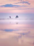 Pink misty sunrise over the lake - 211810911