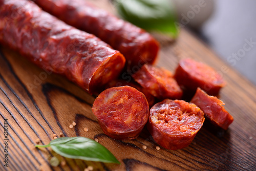 Traditional spanish sausage - chorizo