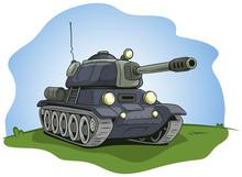 Cartoon Gray Military Army Large Tank