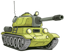 Cartoon Olive Military Army Large Tank Vector Icon