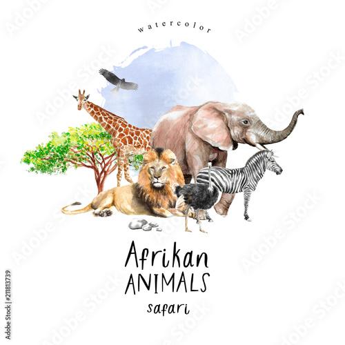 Pinturas sobre lienzo  watercolor illustration of African animals: zebra, lion, ostrich, elephant, gira