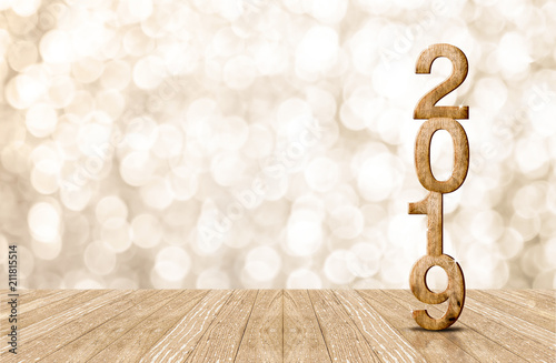 Fotografía  2019 happy year wood number in perspective room with sparkling bokeh wall and wooden plank floor