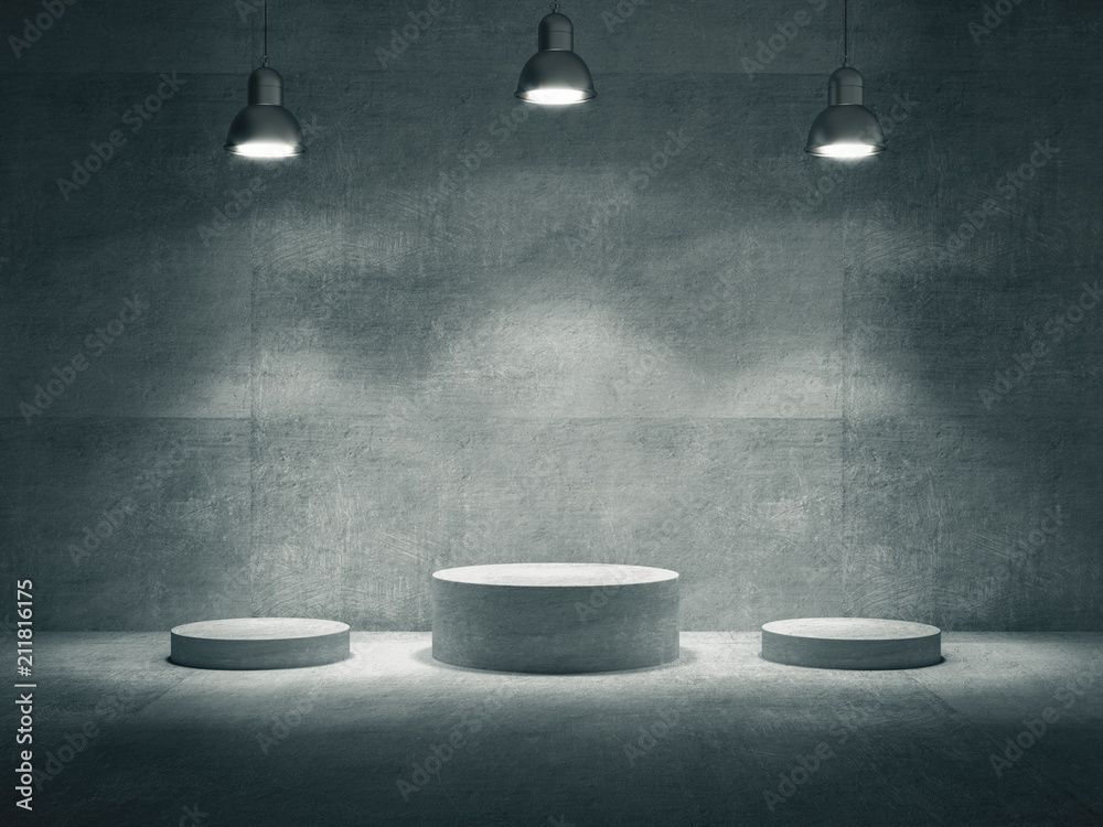 Fototapety, obrazy: Pedestal for display,Platform for design,Blank product stand with lamp light spot .3D rendering.