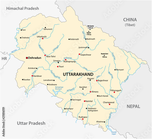 Vector map of the north Indian state of Uttarakhand, India ...
