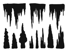 Stalactites Outgrowths And Mineral Formations Vector Silhouette Isolated