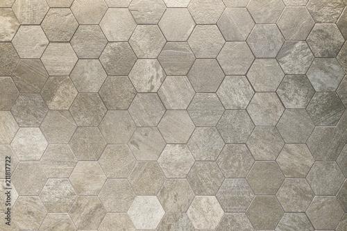 Fototapeta Textured hexagon patterned tile background floor or wall