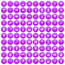 100 Fire Icons Set In Purple Circle Isolated On White Vector Illustration