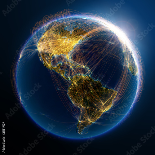Highly detailed planet Earth is covered by complex network of air routes based on real data Wallpaper Mural