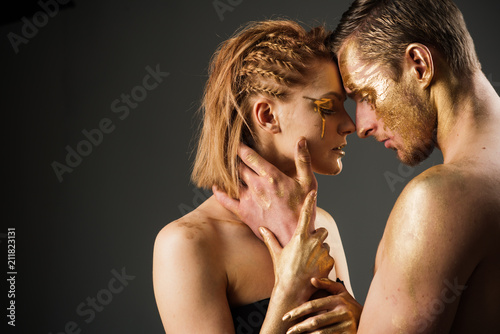 Sexy Couple With Golden Body Art Makeup Copy Space Erotic Games Of Couple In Love Golden Collagen Mask And Beauty 24k Gold Gold Spa And Skincare Treatment Man And Woman Relations
