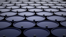 3d Illustration Of Barrels With Crude Oil