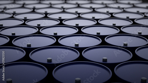 Photo 3d illustration of barrels with crude oil