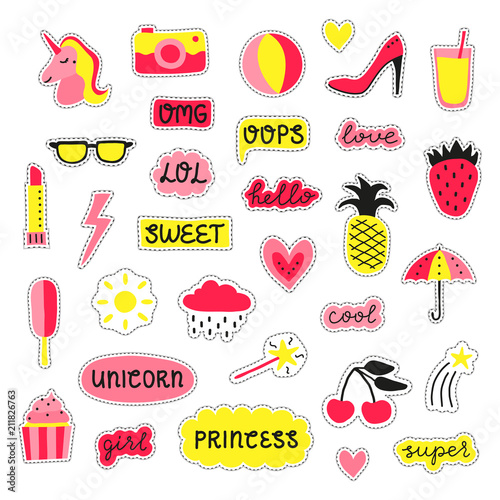 Collection Of Girly Pop Stickers Kaufen Sie Diese Vektorgrafik
