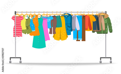 Obraz Men and women casual clothes on hanger rack. Flat style vector illustration. Male and female apparel hanging on shop rolling display stand. New fashion collection. Seasonal sale concept - fototapety do salonu
