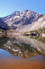 Blue Sky And Soaring Mountain Peaks Reflected In The Pristine Waters Of South Crestone Lake In The Sangre De Cristo Mnts Of Southern Colorado.