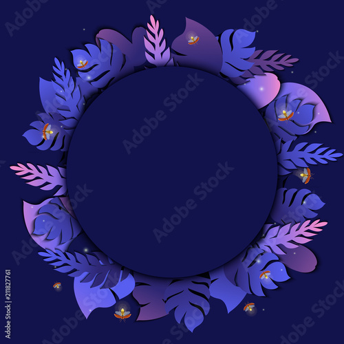 Summer Tropical Palm Leaves Round Template With Twinkling
