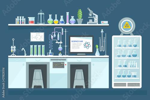 Fotografia  Scientific chemical laboratory, conducting experiments, research in laboratory, interior