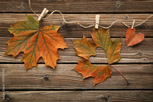 Dry maple leafs with heart on brown wooden table