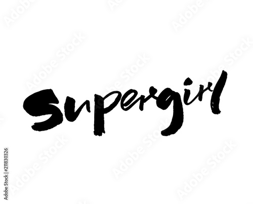 Supergirl - handwritten with brush and ink word Tableau sur Toile